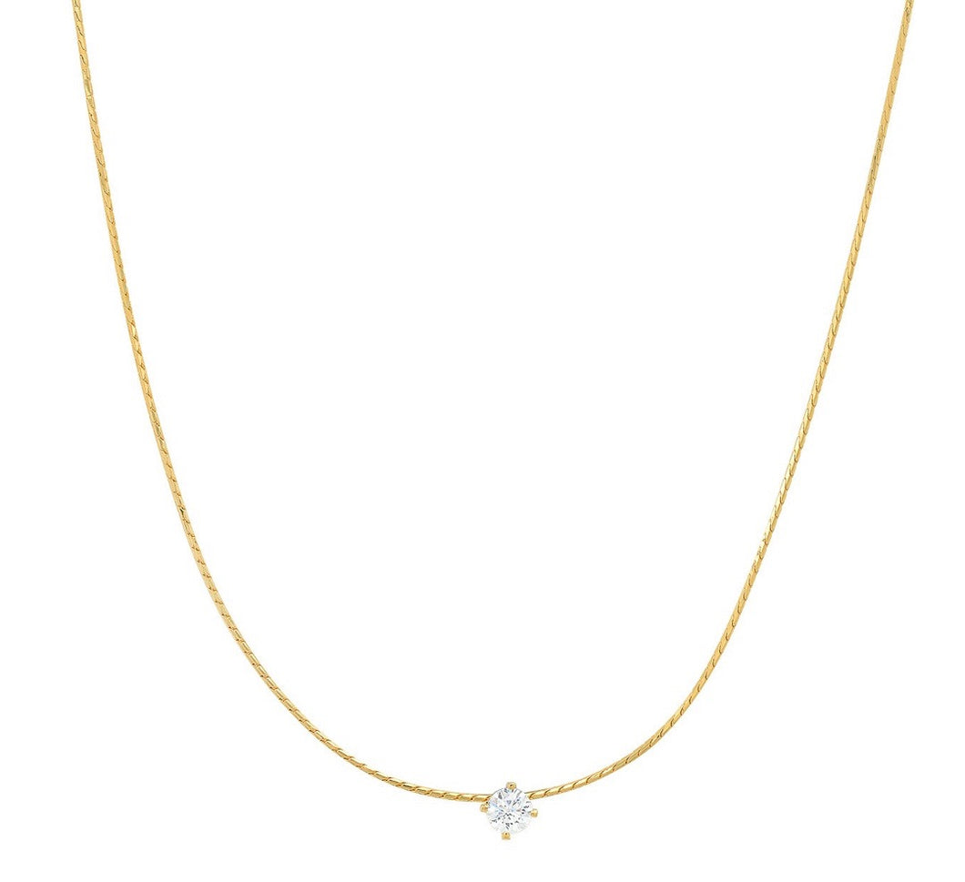 Tai Necklace - Snake Chain with Simple CZ Center Stone