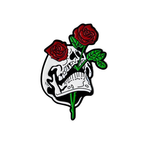 Skull and Rose Pin