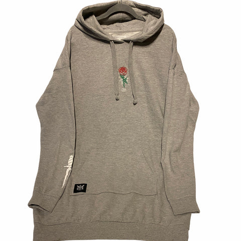 Rose Hoodie Dress Grey