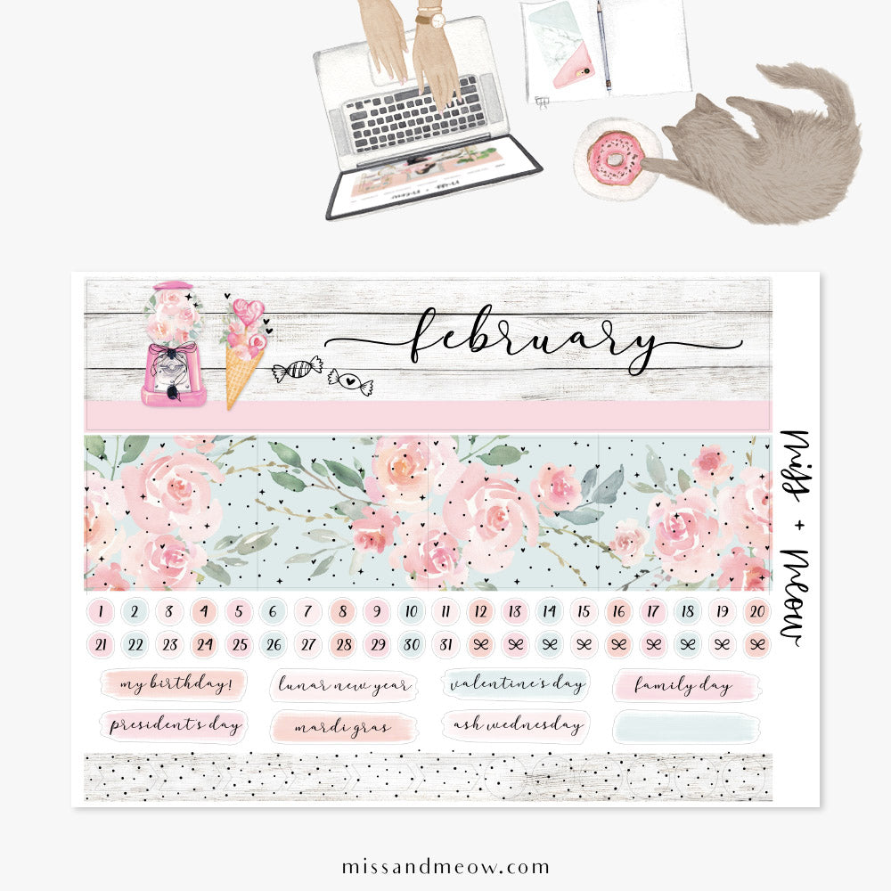 February - Foiled Monthly Sticker Kit