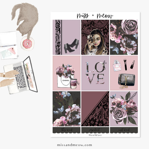 Floral & Lace - Foiled Sticker Kit