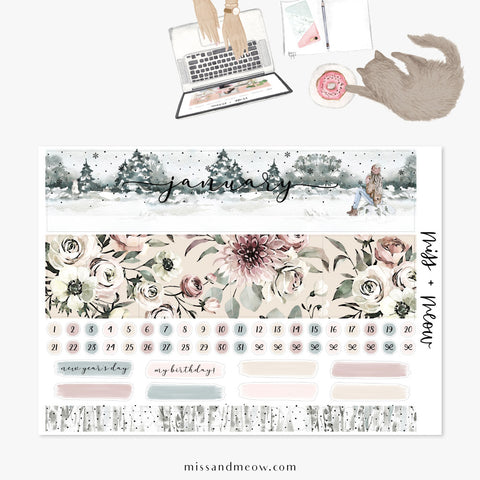 January - Foiled Monthly Sticker Kit
