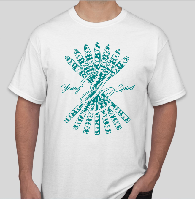 White T-shirt with Teal Drum Stick Logo