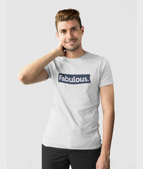 Men Round Neck Silver Cotton T-shirt Fabulous Featured