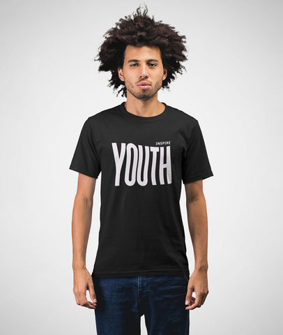 Inspire Youth Men Cotton Black T-Shirt Featured