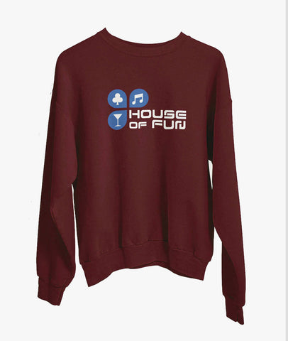 House Of Fun Men Maroon Sweatshirt Featured