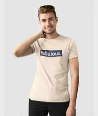 Men Round Neck Soft Cream Cotton T-shirt Fabulous Featured
