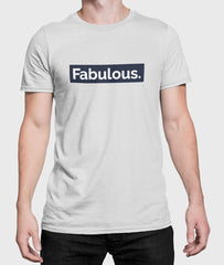 Men Round Neck Silver Cotton T-shirt Fabulous Front