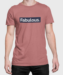 Men Round Neck Mauve Cotton T-shirt Fabulous Front