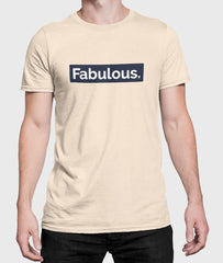Men Round Neck Soft Cream Cotton T-shirt Fabulous Front