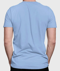 Men Round Neck Light Blue Cotton T-shirt Fabulous Back