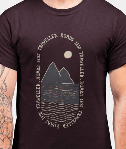 Less Travelled... Roads Men Graphic Round Neck Cotton T-Shirt