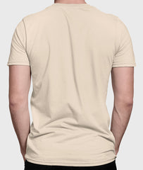 Men Round Neck Soft Cream Cotton T-shirt Fabulous Back