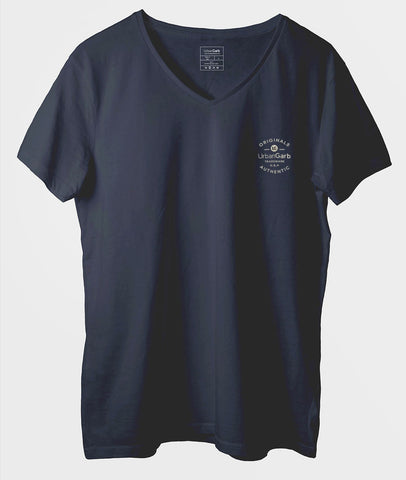 Men V-Neck T-Shirt | Navy
