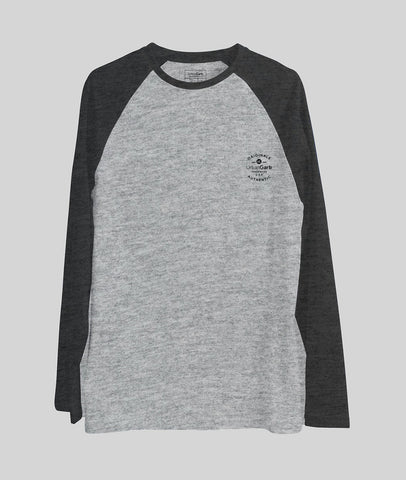 Grey Raglan Cotton T-shirt 3/4 Charcoal Sleeve Featured