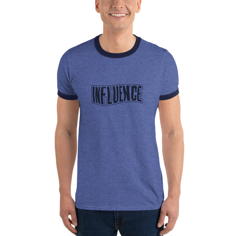 Influence Men Heather Blue Ringer T-Shirt Front