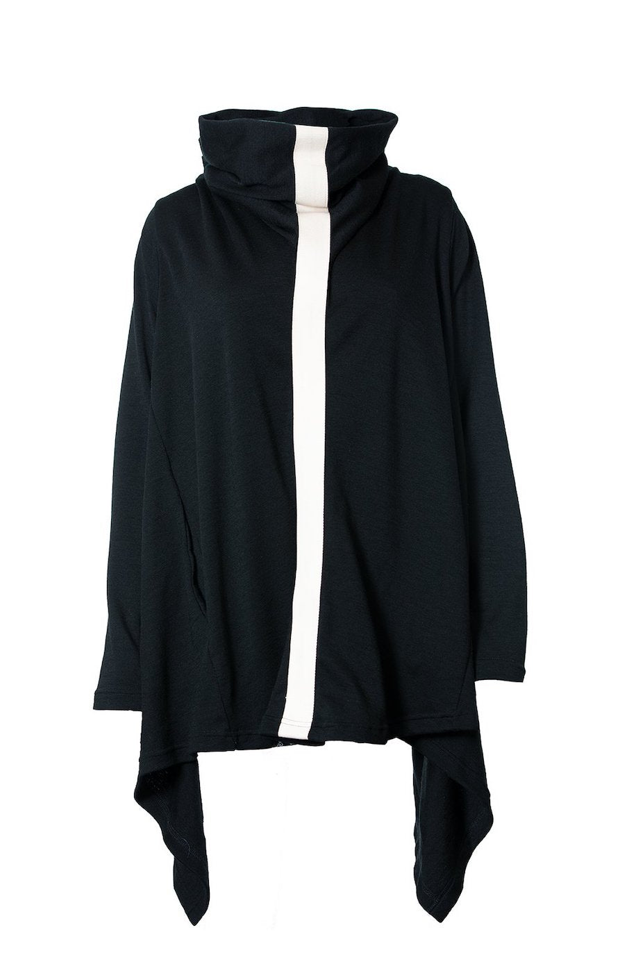 Poncho | Black & Ivory | True Fleece New Zealand
