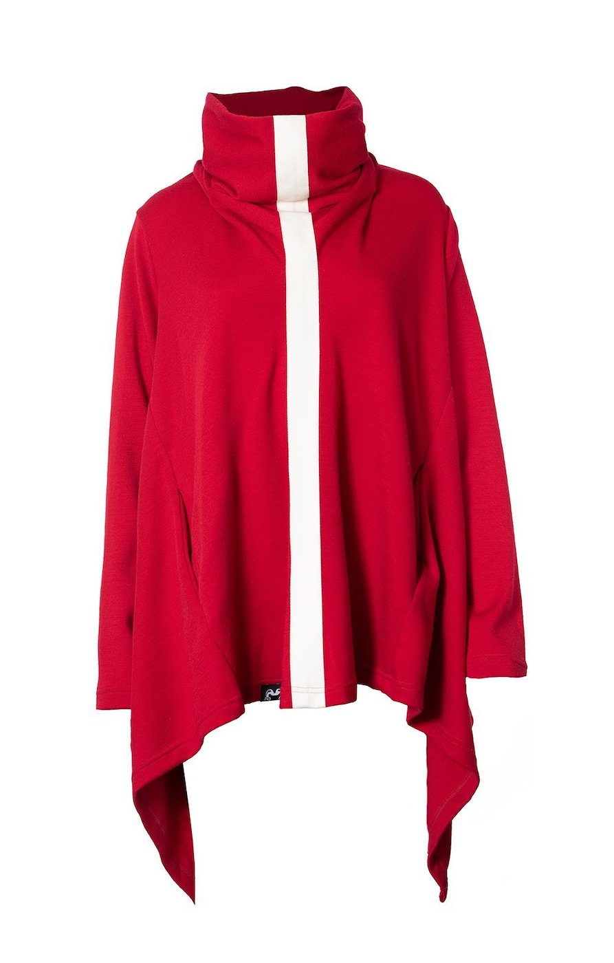 Poncho | Red & Ivory | True Fleece New Zealand