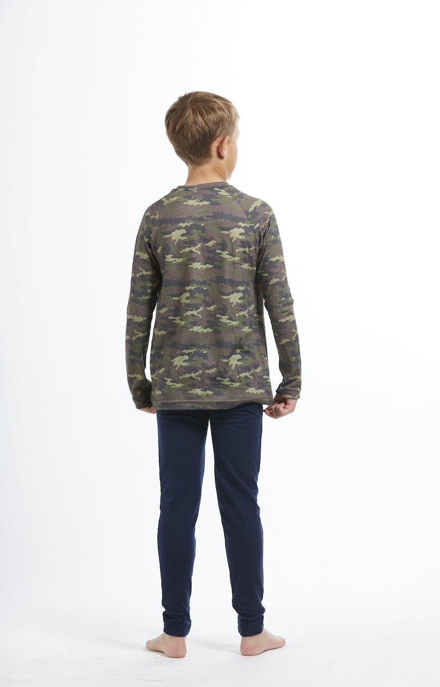 Kids' Merino Wool Thermal Base Layer Leggings - Navy