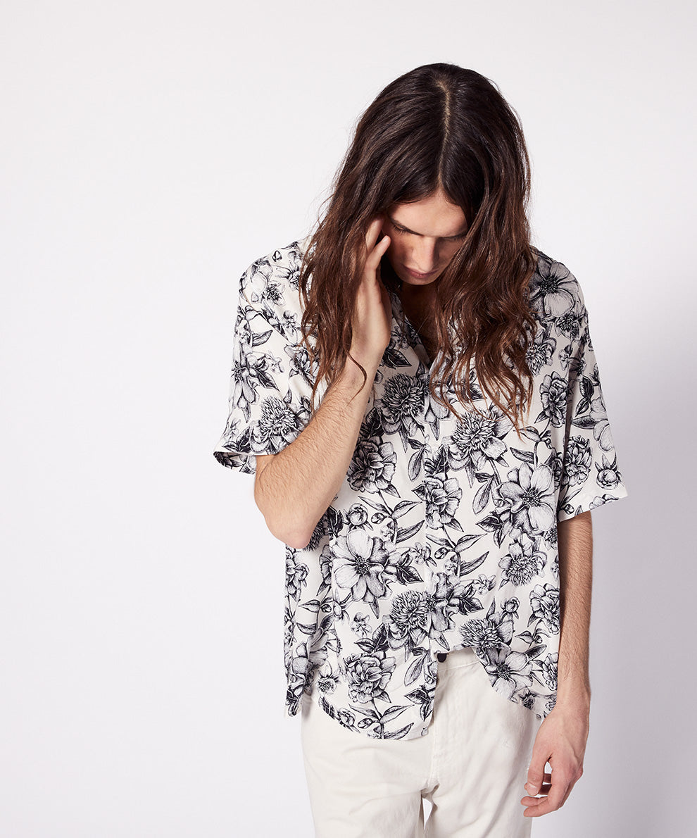 SHORT SLEEVES SHIRT ALLOVER FLOWER PRINT