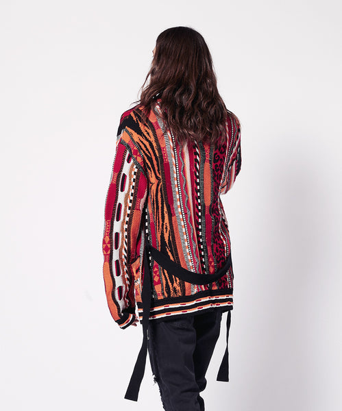 JACQUARD CARDIGAN WITH BELT