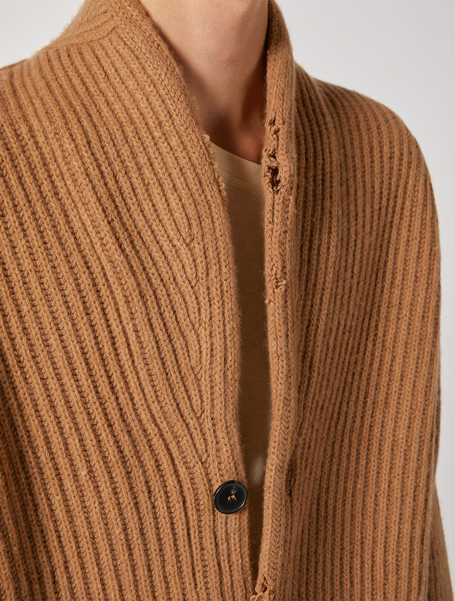 ECOCASHMERE CARDIGAN DESTROYED