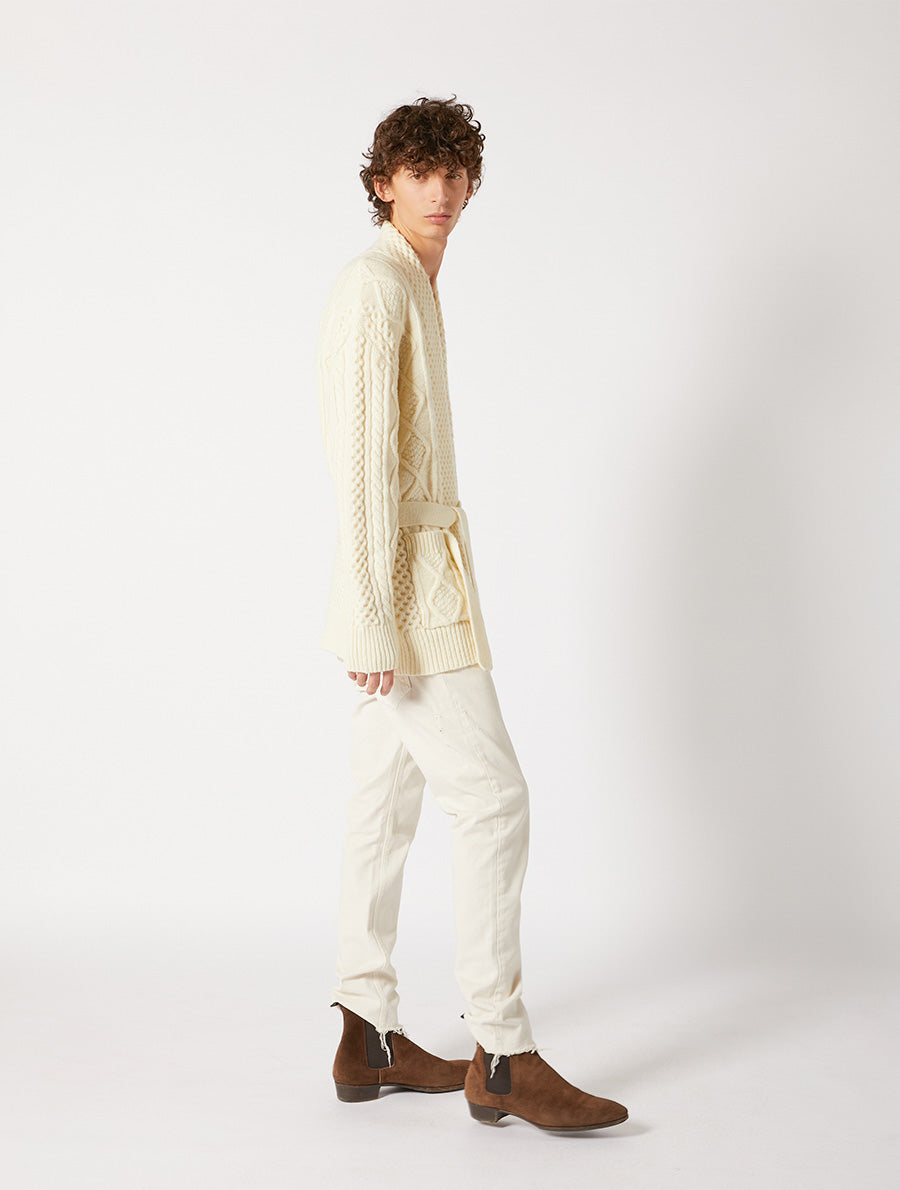 ARAN CARDIGAN WITH BELT RELAXED FIT