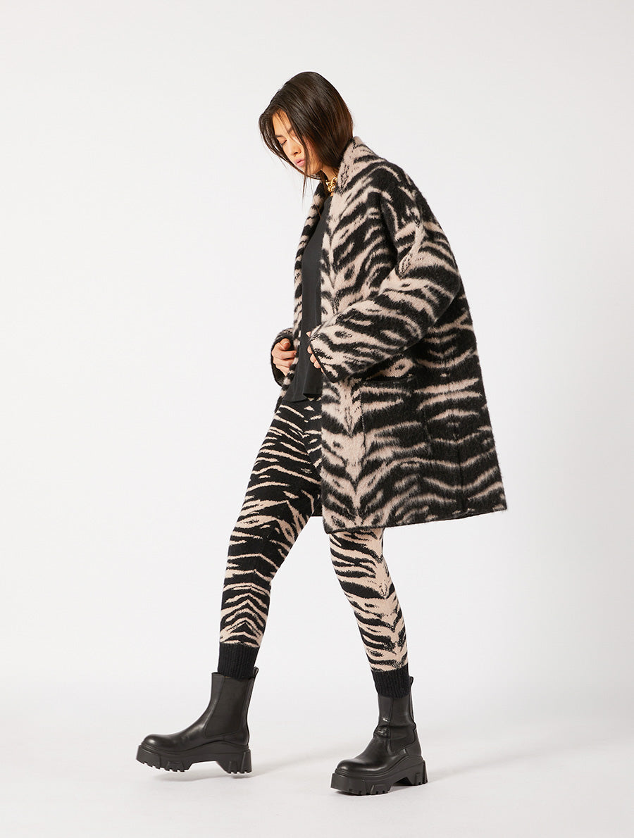 JACQUARD BRUSH  ANIMALIER COAT