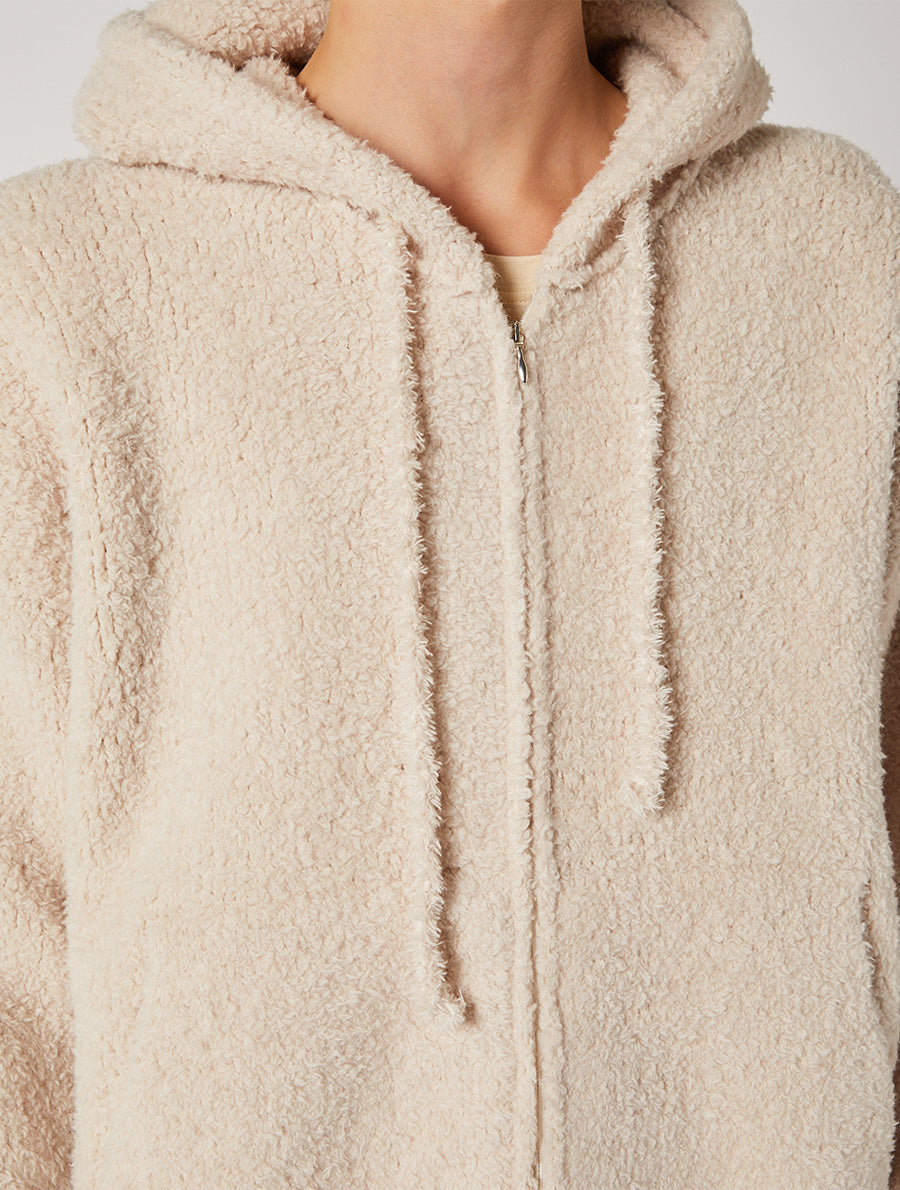 FUR HOODIE KNITWEAR JACKET  RELAXED FIT
