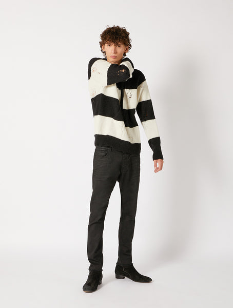 DESTROYED STRIPES HOODIE RELAXED FIT
