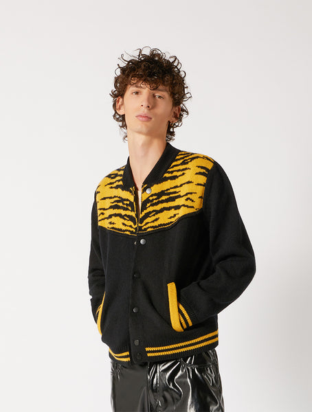 KNITWEAR BOMBER WITH JACQUARD ANIMALIER DETAILS REGULAR FIT