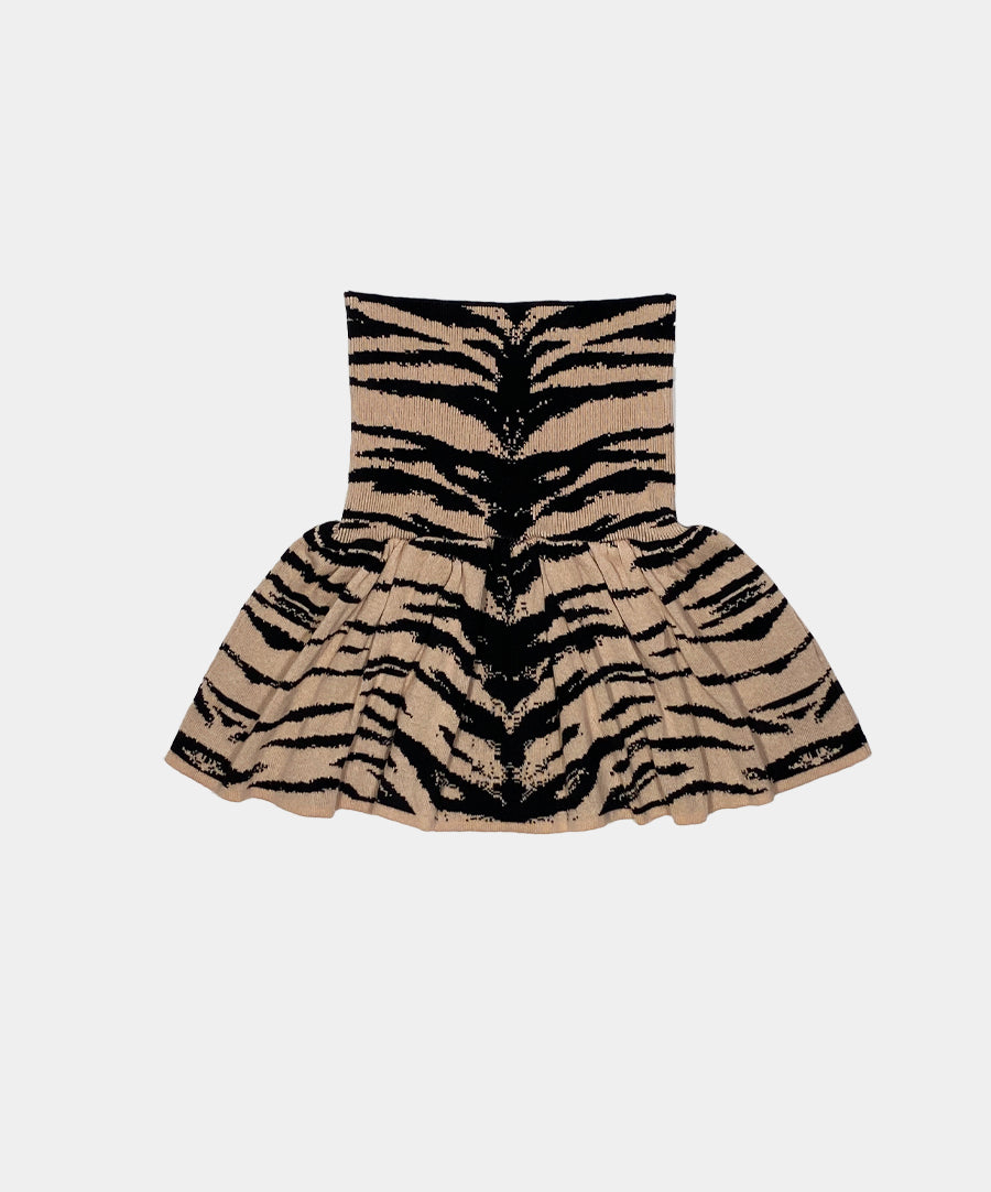 KNITTED MINI SKIRT TIGER JACQUARD