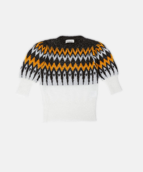 Lurex Jaquard Neck Yellow Black and White