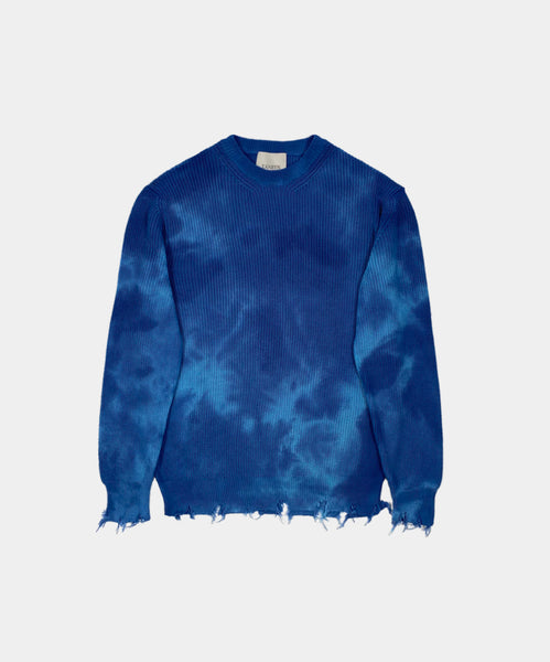 TYE DIE CREWNECK WITH DESTROYED HEMS