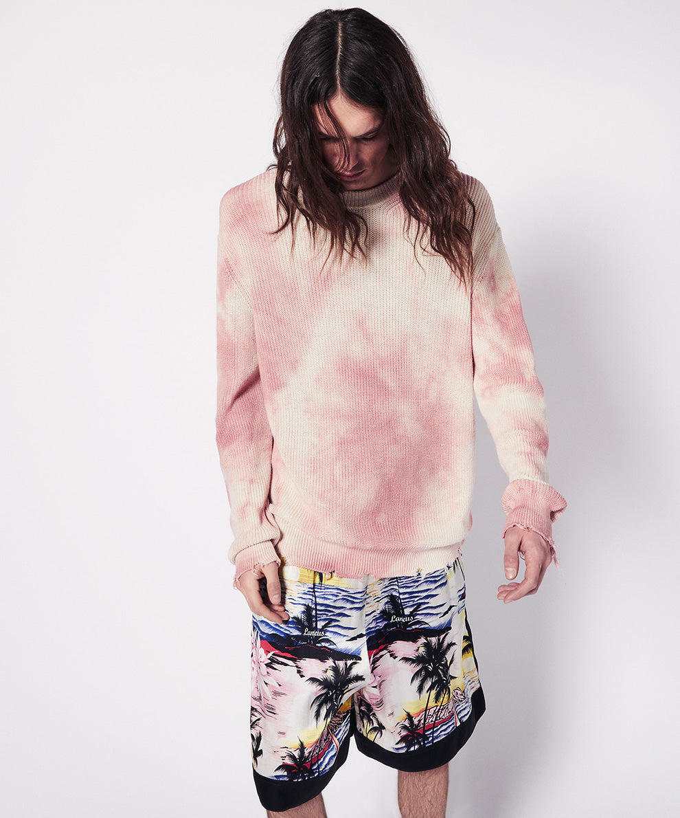 TYE DIE CREWNECH WITH DESTROYED HEMS