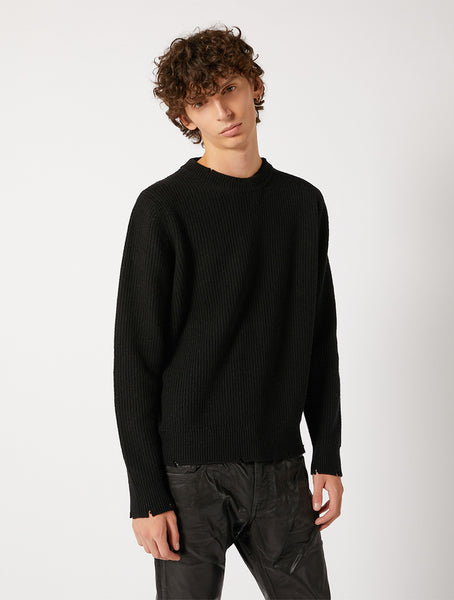 FISHERMAN SWEATER WITH DESTROYED DETAILS RELAXED FIT