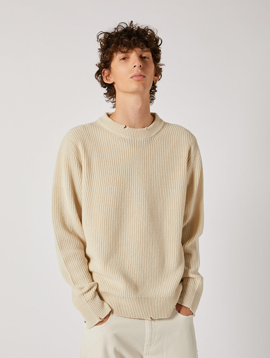 DESTROYED ECOCASHMERE ROUND NECK RELAXED FIT