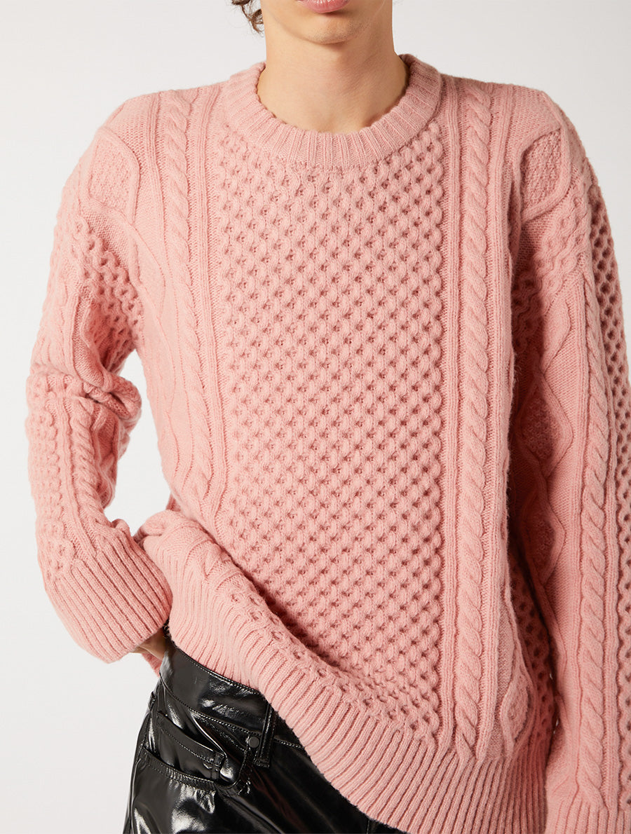 ARAN ROUND NECK SWEATER RELAXED FIT