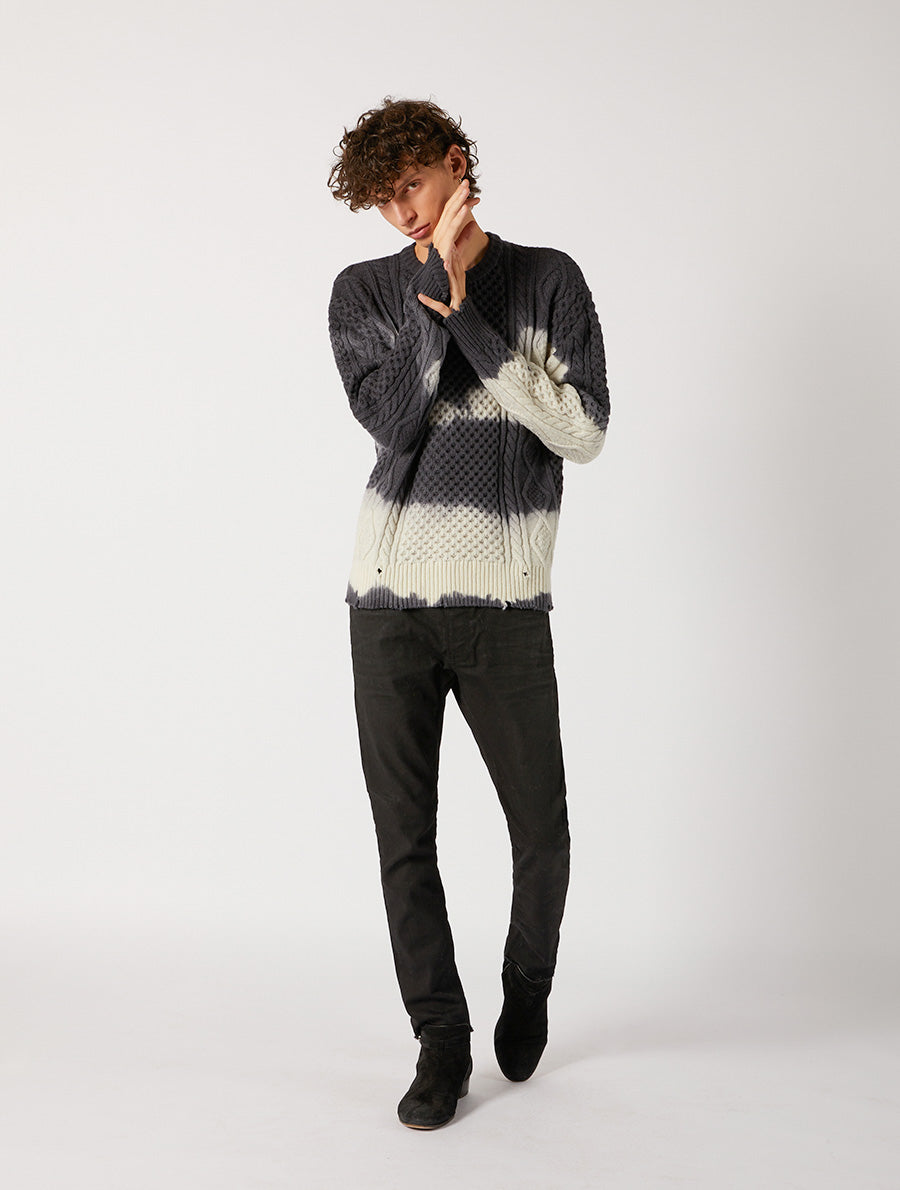 TIE DYE ARAN ROUND NECK RELAXED FIT