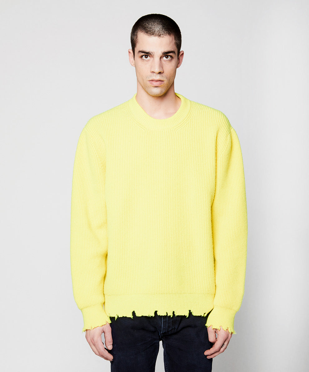 Maltinto Crew Neck With Breaks Yellow Fluo