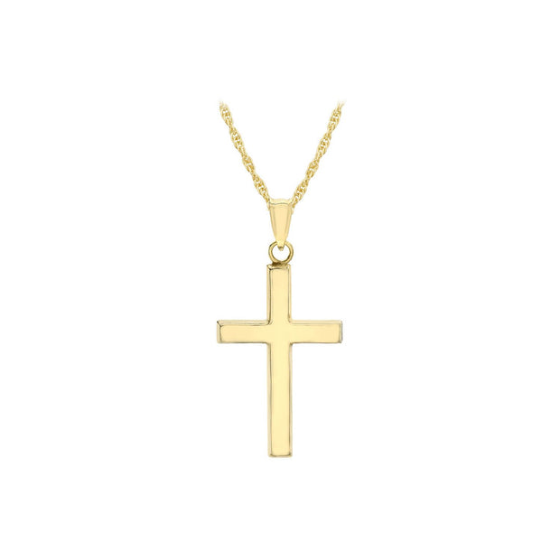 9K Yellow Gold 15mm x 25mm Cross 14 'Prince of Wales' Chain Necklace 46cm