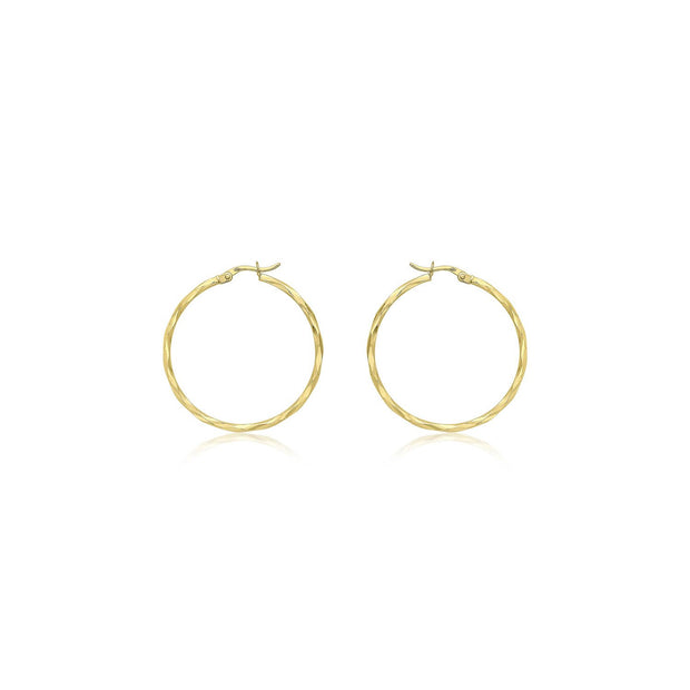 9K Yellow Gold 33mm Diamond Cut Faceted Hoop Creole Earrings