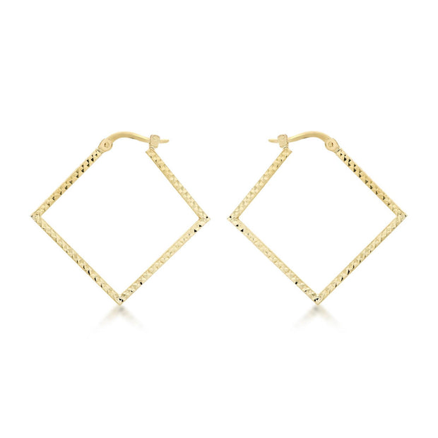 9K Yellow Gold 23mm x 23mm Diamond Cut Square Creole Earrings