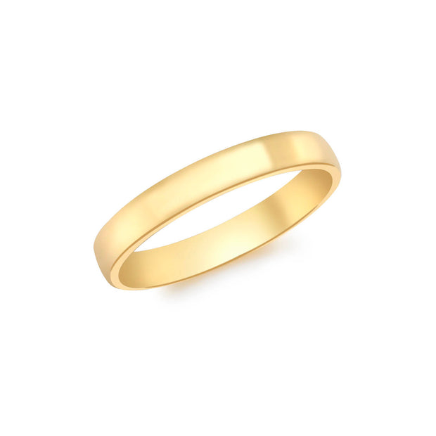 9K Yellow Gold 3mm Court Ring