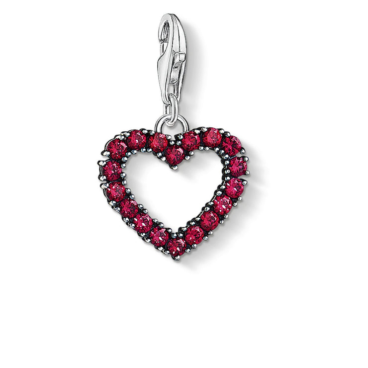 "Thomas Sabo Charm Pendant""Heart With Hot Pink Stones"""