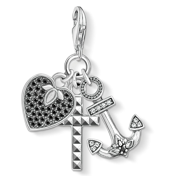 "Thomas Sabo Charm Pendant ""Cross, Heart, Anchor"""