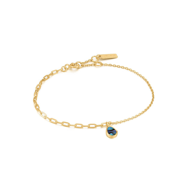 Ania Haie Gold Tidal Abalone Mixed Link Bracelet | The Jewellery Boutique