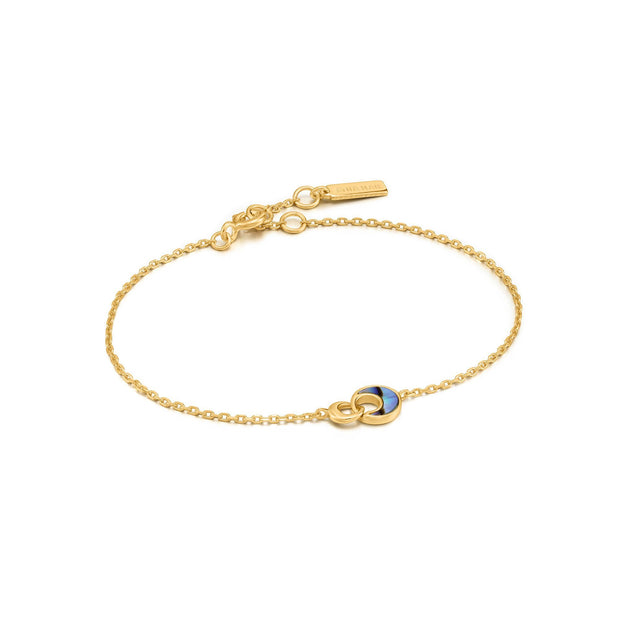 Ania Haie Gold Tidal Abalone Crescent Link Bracelet | The Jewellery Boutique