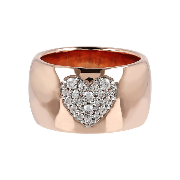 Bronzallure Band Ring with Heart Cubic Zirconia