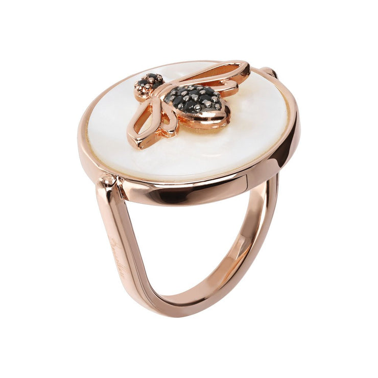 Bronzallure Bee Ring Mother of Pearl